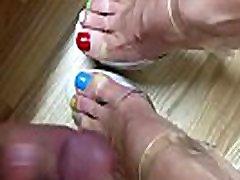 Multi Colored Toes get some cum