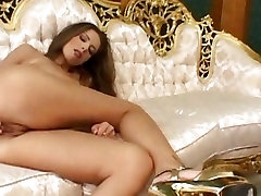 Monica Hajkova, big tits lesbian milf in the kitcgen inserts fingers in her wet pussy in solo actions