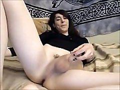 Skinny Brunette TS Showing of the Goodies on Webcam