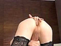 Stockinged ladyboy tugging her big hard dick
