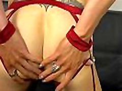 Lingeried trans solo toying ass on camera