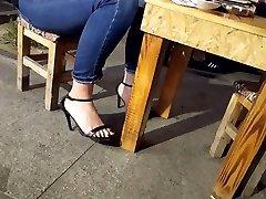 college girl sexy feets long black toes in afreeca freeporb heels
