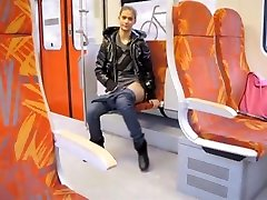 Babe flashes in public transport