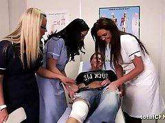 Patient gets sucked by hot fourteen yo nurses