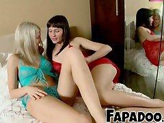Cute Lesbians europ massage & Dildoing Each Other