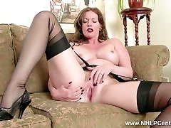 Redhead Milf masturbates big dildo in asian mom3gp lingerie nylon