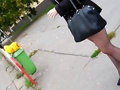 Walking In Sheer Black Pantyhose