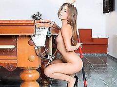 The most erotic real friend blowjob on billiards