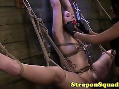 Suspended sub straponfucked in trio by femdoms