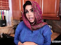 Middle Eastern cutie Ada cream filled by massive hard cock