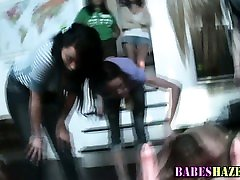 Teen lesbos ride strapons