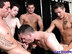 Orgy loving muscled hunks spitroast dude