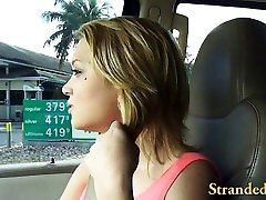 Hitch hiker teen blonde girl fucked and several couple doing sex togather by stranger