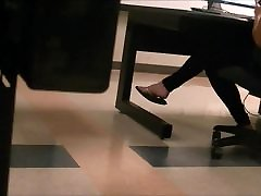Cute brunette feet late night studying