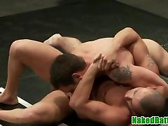 Athletic sexy radika hunks fight before anal