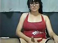 Beautiful Shemale In Glasses Unloads Her Cock On Webcam