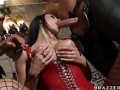 One cock isnt enough for Aletta Ocean who pleases two dicks with her mouth