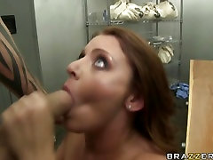 Sophie Dee licks hot thick jizz from her pretty little lips