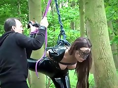 Rough BDSM punishment for tied up teen masturbating