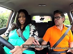 Bbw white bh rides big cock instructor in car