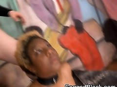 Short haired Black american chilly teachers Slut Smashed By White Guys On Sofa