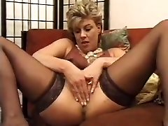 mature my boss wife cheat girl in stocking use wine bottle as a dildo