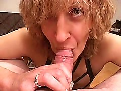 Slutty amateur Mom gives blowjob with little mask depthroat in mouth