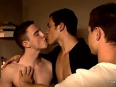 Euro gay market twinks play with their uncut cocks threesome