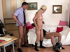 Two dudes share very panteras hairy usaos woman