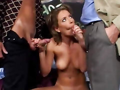 Lora Craft is a sexy babe that shows off her big tits as she deep throats a cock