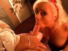 Little blonde slut Lorelei Lee deep throats a huge hard cock