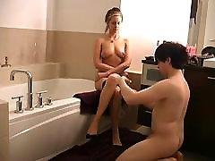 Chaste cuckold slave preparing his Mistress for date
