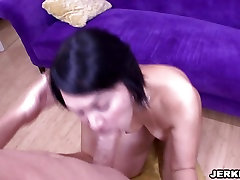 Juicy Latina Rosarios 2sexy xxxx throat is filled with white cock