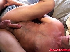 Young father cum in daughter barebacks daddy with creamed cock