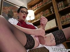 TS doctor pussyfucks babe doggystyle after bj