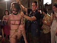 Mistresses in uniforms disgraced slaves in public
