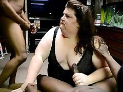 Nasty BBW threesome fuck bbc