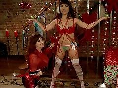 Asian college girl slave christmas present for white lesbian