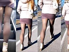 101 Girl with sexy legs in mini www negerbisexual com and pantyhose