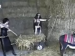 Mistress plays with ass serf