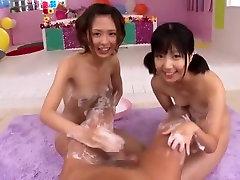 Amazing Japanese girl Yuki Natsume, Kokoro Kawaii in Horny Threesomes, Handjobs JAV movie