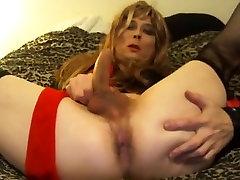 Sexy tasha strokes her cock crossdresser