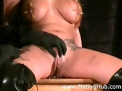 BDSM Extreme Tit Play, Fetish Pain With Needles Inserted Into Sluts Nipples
