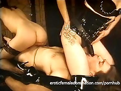 Raunchy dude lets two 14 inch cock for her fillies do naughty things to him