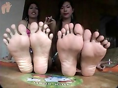 Asian Ladyboys Show Off Their Big Sweaty Feet and Red Toenails