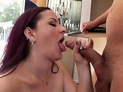 Hot redhead MILF Caroline Pierce seducing her sons friend into blowjob