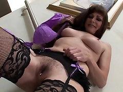 Big tits MILF Alexandra Silk masturbates in her sexy lingerie