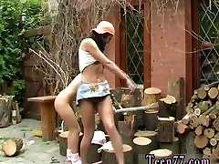 Two lesbian facesitting first time Cutting wood and eating pussy