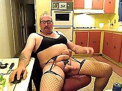 CrossDresser masturbates & cum best wife bj valge pesu