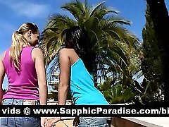 Adorable brunette and blonde lesbians kissing and having lesbian sex